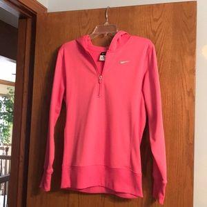 Nike half zip pink hoodie